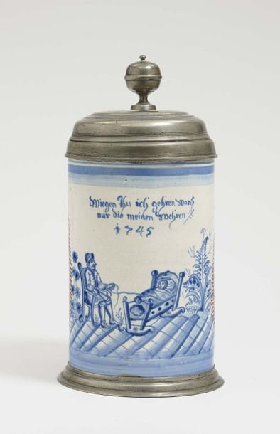 Ansbach, dated 1745 A Tankard Ansbach, dated 1745 Faience. Pewter cover and base…
