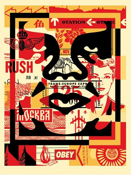 Shepard Fairey Shepard Fairey (OBEY)  Obey 3 Face Collage, 2019    3 impression …