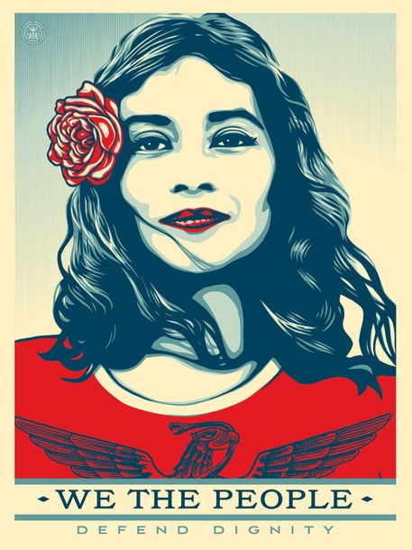 Shepard Fairey We the people defend dignity, Lithographie Shepard Fairey  We the…