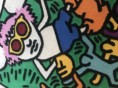 """Keith HARING """"Andy Mouse (colours)"""", Tapis Keith HARING """"Andy Mouse (colours)"""", …"""