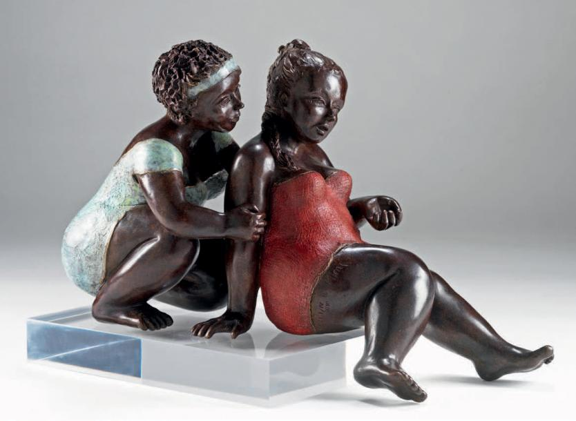 MIMI - Michèle Peyre Confidences. Sculpture en bronze. 27 x 16 x 42