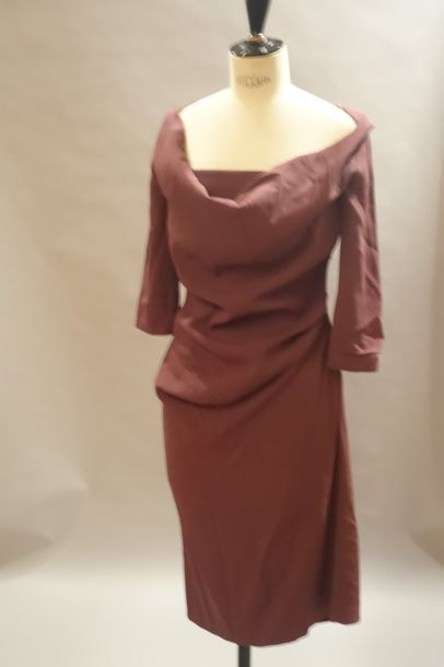 VIVIENNE WESTWOOD Red Label :  Robe en crêpe marron,  T.40