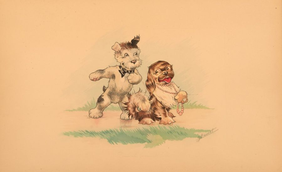 Germaine BOURET Colliers de chien, 1926. Suite de 5 lithographies en couleurs. 3…