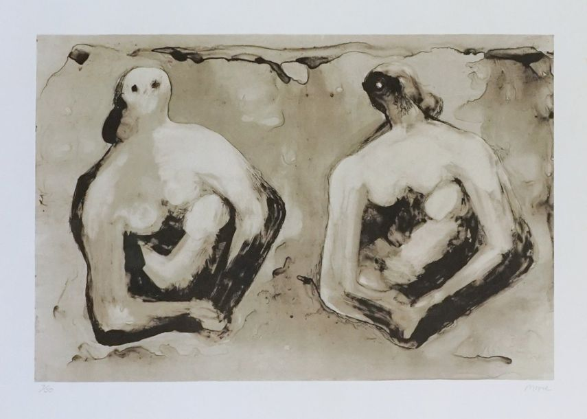 Henry MOORE (1898 1986). Sisters with children, 1979. Lithographie. Signée en ba…