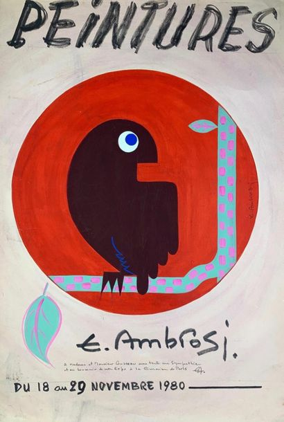 DIVERS (7 affiches) AMBROSI (1980) (projet) CARZOU CAVAILLES CHAGALL (2) GROMAIR…