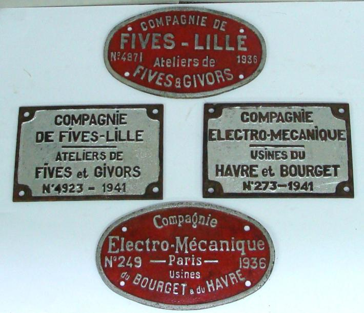 4 plaques en fonte de locomotives fives lille n 4871 1936 ateliers. Black Bedroom Furniture Sets. Home Design Ideas