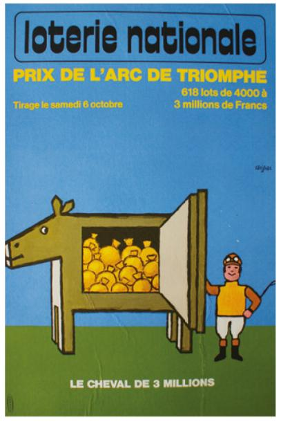 "ARCHIVES DE MR ALAIN WEILL LOTERIE NATIONALE. ""LE CHEVAL de 3 MILLIONS"".1973 Imp.Chabrillac,…"