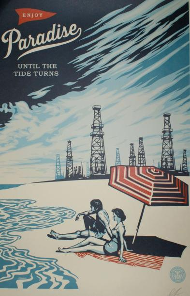 "SHEPARD FAIREY (né en 1970) PARADISE.""Until the Tide Turns"". 2016 Lithographie S…"
