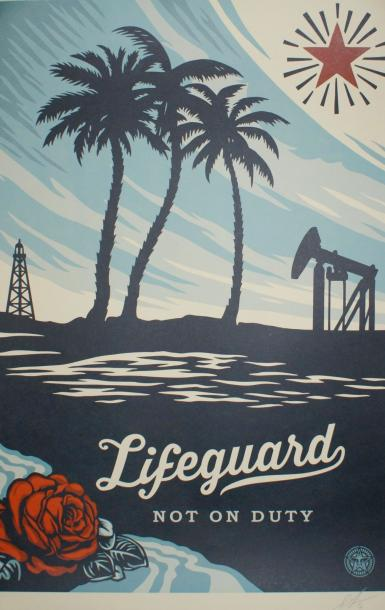 "SHEPARD FAIREY (né en 1970) LIFEGUARD.""Not on Duty"". 2016 Lithographie Signée et…"