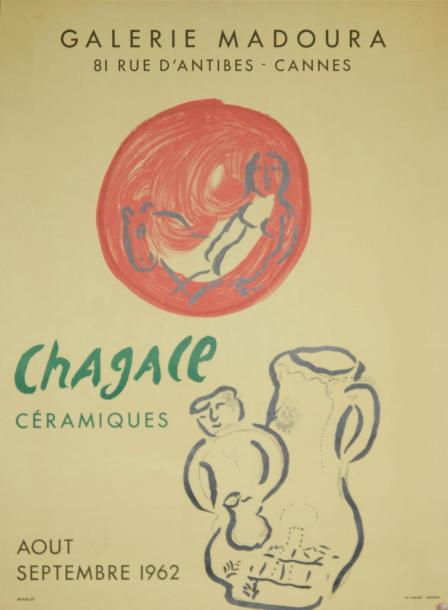 "CHAGALL Marc (1887 1985) GALERIE MADOURA, Cannes. ""CHAGALL CÉRAMIQUES"". Août sep…"
