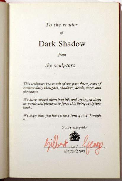 "GILBERT 1943 & GEORGES 1942 ""Dark Shadow"", Nigel Greenwood, 1976, 130 pages. Ouvrage…"