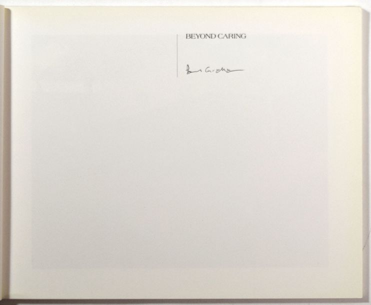 """PAUL GRAHAM 1964 """"Beyond caring"""", Grey editions, 1986, 80 pages. Ouvrage broché en…"""