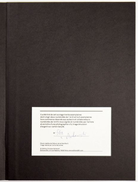 "CHRISTIAN BOLTANSKI 1944 ""Archives 01"", Bob Calle, 2009, 200 pages. Ouvrage relié…"