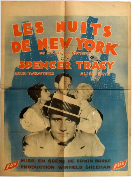 "LES NUITS DE NEW YORK NOW I'LL TELL "" Affiche originale belge, du film d' Edwin …"