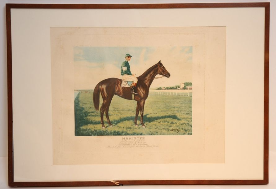 "GRANDE LITHOGRAPHIE ""CHEVAL MANISTEE Vincitore del Derby Reale 1924""  Lithograph…"