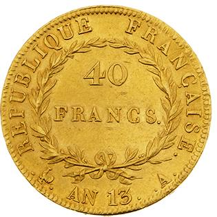 PREMIER EMPIRE (1804-1814) 40 francs or, tête nue. An 13. Paris. G. 1081. TTB à…
