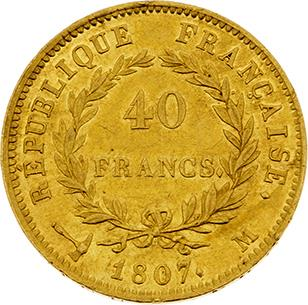 PREMIER EMPIRE (1804-1814) 40 francs or, tête nue. 1807. Toulouse (4994 ex.). G.…