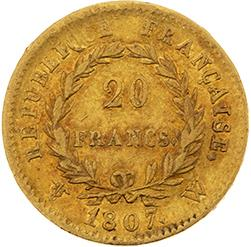PREMIER EMPIRE (1804-1814) 20 francs or. 1807. Lille (5181 ex.). G. 1023a. TB30…