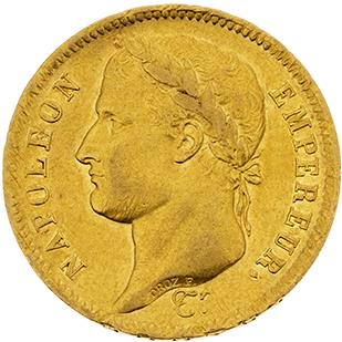 PREMIER EMPIRE (1804-1814) 40 francs or, tête laurée, revers République. 1808. La…