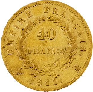 PREMIER EMPIRE (1804-1814) 40 francs or, tête laurée, revers Empire. 1811. Paris…