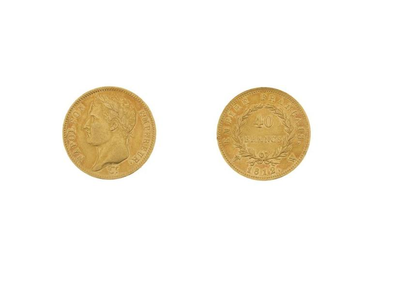 PREMIER EMPIRE (1804-1814) 40 francs or, tête laurée, revers Empire. 1812. Lille.…