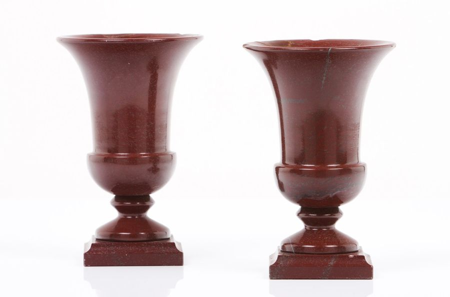 A pair of vases Brown marble  Italy, 20th century  (minor chips) Height: 20 cm