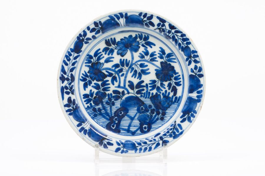 A plate Delft faience  Blue floral decoration with garden  Holland, 18th century…