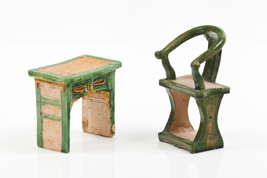 A sancai glazed model of a table and chair Two Sancai glazed ceramic sculptures …