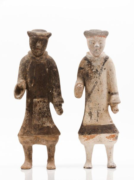 Two soldiers Terracotta sculptures  Portrayed standing and originally holding sp…