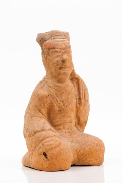 A Sichuan terracotta sculpture of a seated figure Han dynasty (202 BC–220 AD) He…