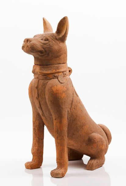 Seated dog Large terracotta sculpture depicting a harnessed seated dog  Sichuan …