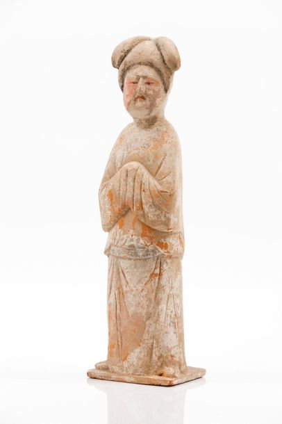 """Court Lady, """"Fat Lady"""" Terracotta sculpture  Evidence of painted decoration  Tan…"""