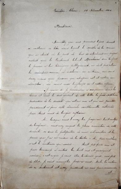 LETTRE À LANESSAN. Manuscrit de 28 pp. in-folio. Tientsin, 19 décembre 1901. Copie…