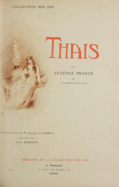 FRANCE (A) THAIS. Paris, Librairie de la collection des Dix, 1900. In-8, maroquin…