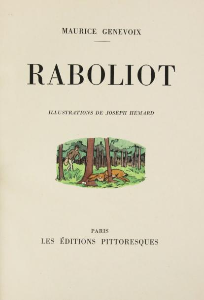 GENEVOIX (Maurice) RABOLIOT. Paris, Édit. Pittoresques, 1930. In-4°, chagrin vert,…
