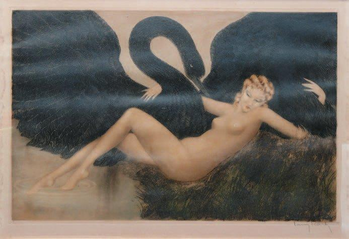 Louis ICART (1888-1950) LEDA ET LE CYGNE Pointe sèche et aquatinte copyright 1934,…