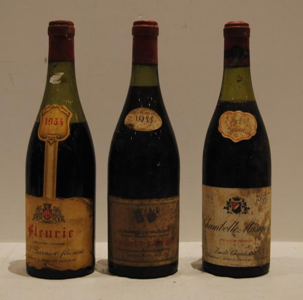 3 bout 1 FLEURIE MISE MISE GARNIER 1955 (7 cm), 1 CHAMBOLLE MUSIGNY EMILE CHANDESAIS…