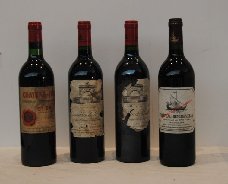 4 bout 2 CHT LEOVILLE LAS CASES 1987 (EA), 1 CHT BEYCHEVELLE 1993, 1 CHT FIGEAC…