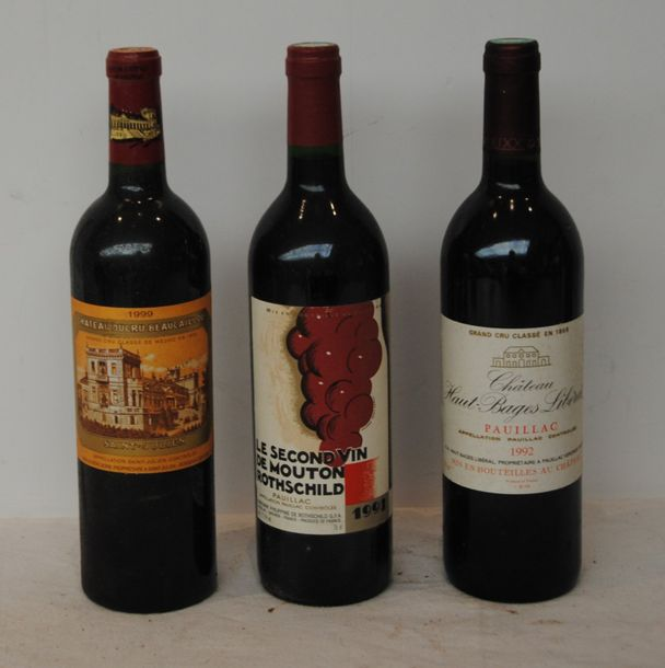 3 bout 1 CHT HAUT BAGES LIBERALE 1992, 1 SECOND VIN DU CHT MOUTON ROTHSCHILD 19…