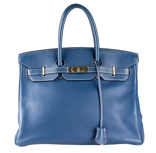 HERMES Paris made in France Birkin 35 cm  En veau Togo bleu à surpiqûres blanche…