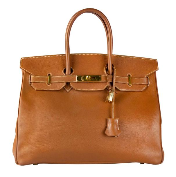 HERMES Paris made in France Birkin 35 cm  En veau Epsom gold à surpiqûres blanch…