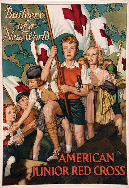 HUMPHREY WALTER BEACH American Red Cross Builders of a New World vers 1918 Affiche…