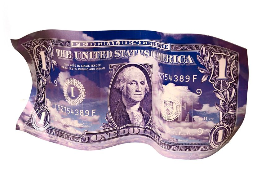 Karl LAGASSE (1981) One dollar, blue Impression sur aluminium thermoformé , signé…