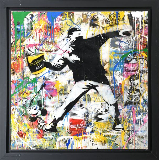 MR.BRAINWASH (né en 1966) Banksy Thrower,2014 Acrylique, peinture aérosol et collage…