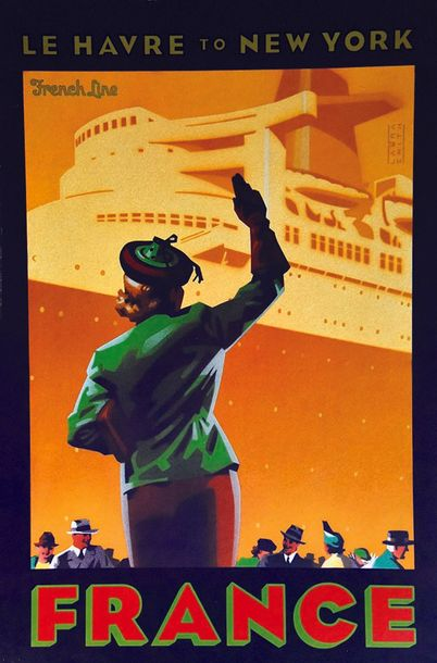 SMITH LAURA France French Line Le Havre to New York vers 1980 Affiche Réalisée pour…
