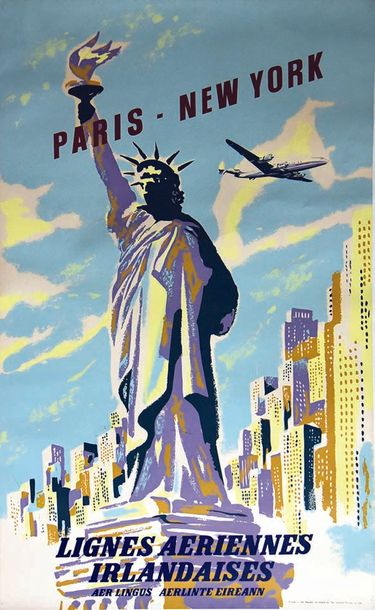 Paris New York Aerlingus Statue de la Liberté vesr 1960 The Ormond Printing Republic…