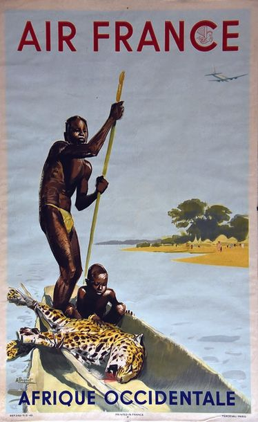 BRENET ALBERT Afrique Occidentale Air France 1949 Perceval Paris  1 Affiche Non-Entoilée…