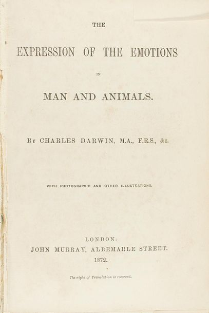 1872 . LIBRO: (CIENCIAS) . DARWIN, CHARLES: THE EXPRESSION OF THE EMOTIONS IN MA…