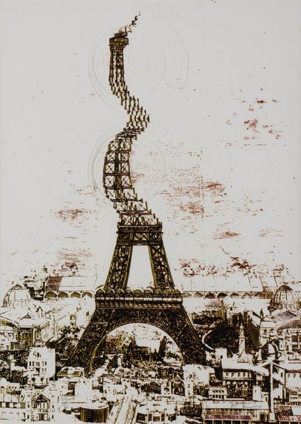 POL BURY (1922-2005) Tour Eiffel, 1987. Estampe - mélangeur d'images en couleurs.…