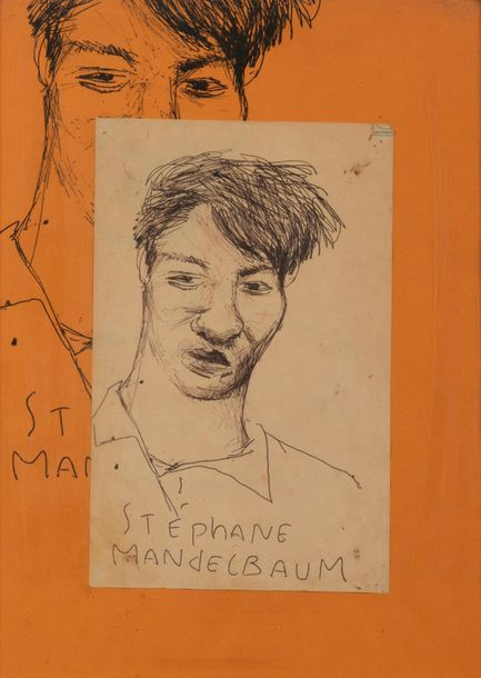 STEPHANE MANDELBAUM (1961-1986) Autoportrait. Stylo à bille et collage sur papier.…